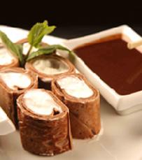 וריאציה מתוקה של סושי, עם דיפ וניל ושוקולד, לטבילה