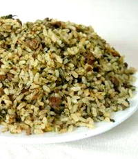 בחש – אורז מוקפץ עם כבד קצוץ, מתובל בעשבי התיבול