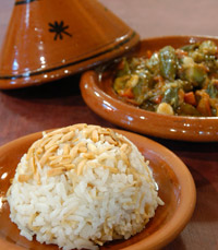 מנת אורז עם ירקות בטאג'ין