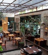 ארוחה עסקית בחצר המסעדה