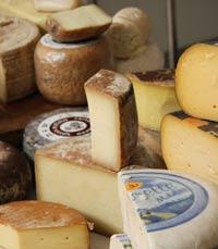 מבחר גבינות מיובאות במעדניה של גולדשטיין